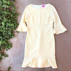 Betsey Johnson Pale Yellow Ruffle Skirt Dress